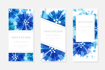 Romantic background with blue cornflowers and paint splashes. Floral design Vector illustration.
