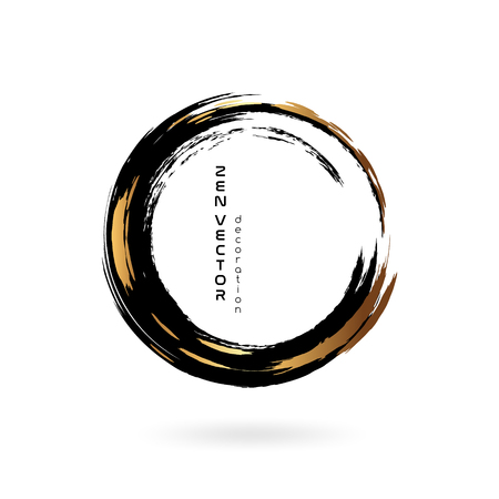 Ink zen circle emblem. Hand drawn abstract decoration element. Black and gold colors.  イラスト・ベクター素材