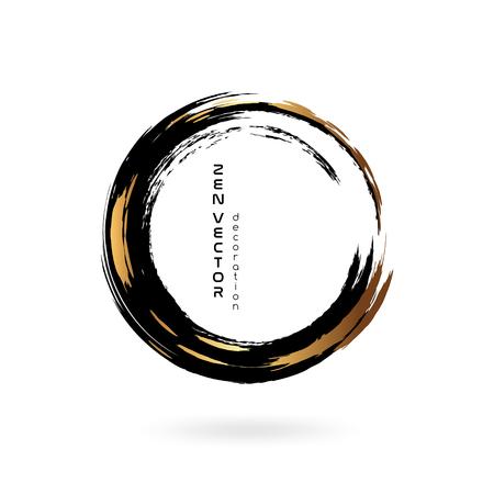 encre ornement de cercle zen . tiré par la main abstraite élément de cercle et des objets d & # 39 ; encre dessinés à la Vecteurs