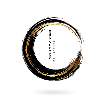 Ink zen circle emblem. Hand drawn abstract decoration element. Black and gold
