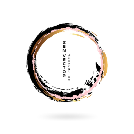 Ink zen circle emblem. Hand drawn abstract decoration element. Black, pink and gold