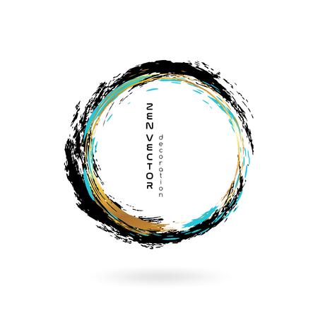 encre ornement cercle zen . tiré par la main abstraite élément de cercle . or et or lumières de style abstrait
