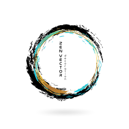 Ink zen circle emblem. Hand drawn abstract decoration element. Black, blue and gold colors.