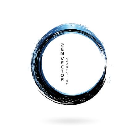 インク禅サークルエンブレム。手描きの抽象的な装飾要素。黒と青  イラスト・ベクター素材