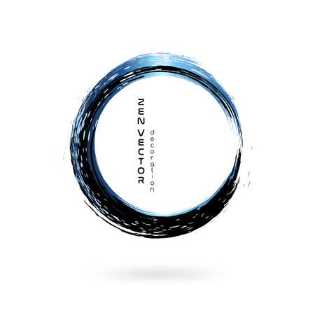 Ink zen circle emblem. Hand drawn abstract decoration element. Black and blue