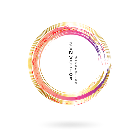 Ink zen circle emblem. Hand drawn abstract decoration element. Pinl and gold  イラスト・ベクター素材