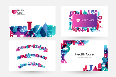 Health care design collection. Medical vector illustration. Stock Illustratie