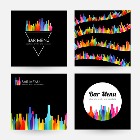 Bar menu design collection. Card, label, badge, and curve border Stock Illustratie
