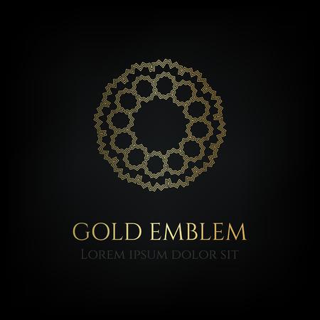 Decorative golden round emblem. Ornamental vector motif.