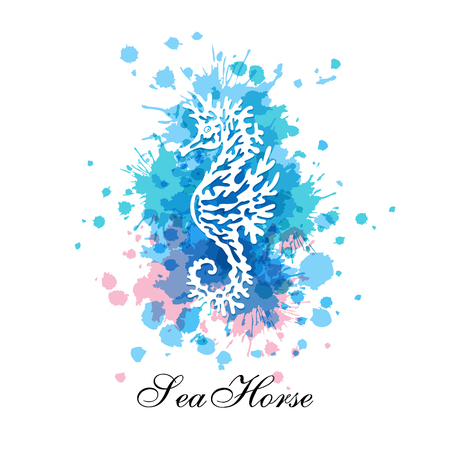 Seahorse silhouette on the splashes decorative elements