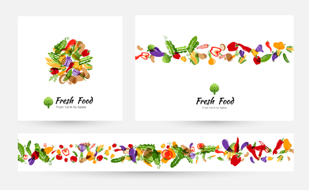 Vegetables banners and elements for menu design or packaging