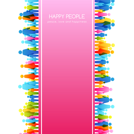 Social conceptual illustration. Vector background with vertical border frame from colorful people icons. Ilustrace