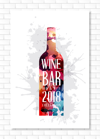 Wine list template for bar or restaurant menu design.