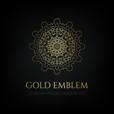 Decorative golden round emblem. Ornamental vector motif.