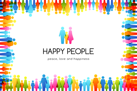 Social conceptual illustration. Vector background with frame from colorful people icons.  イラスト・ベクター素材