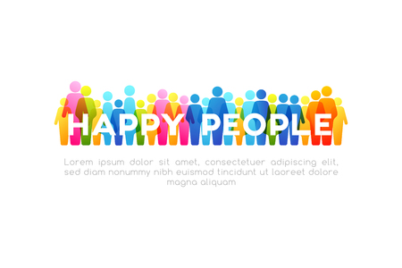 Social concept. Vector horizontal decoration element from colorful people icons