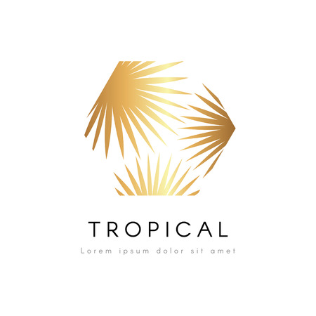 Tropical exotic emblem. Golden palm tree leaves vector logo.