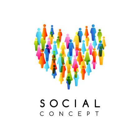 Social conceptual emblem. Vector illustration with heart sign with colorful people silhouettes texture.