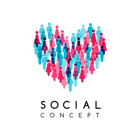 Social conceptual emblem. Vector illustration with heart sign wi