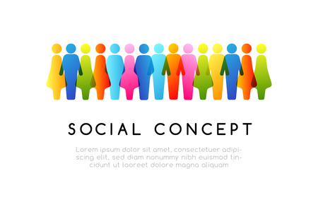 Social conceptual emblem. Vector horizontal decoration element from colorful people icons