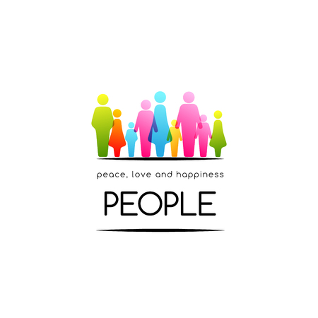 Social conceptual emblem with border from colorful people icons.
