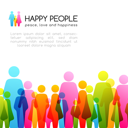 Social conceptual illustration. Vector background with horizontal border from colorful people icons.  イラスト・ベクター素材
