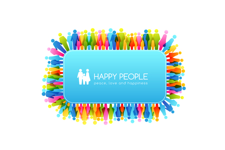 Social conceptual illustration. Rectangle frame with border from colorful people icons. Иллюстрация