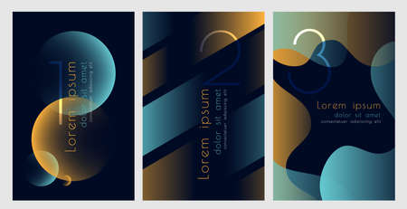 Abstract modern color posters with fluid geometric elements.