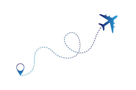 Air plane with traffic line and navigation marker. Vector illustration Vettoriali