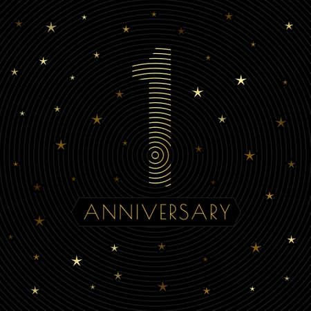 1 anniversary emblem in retro line art style with golden starry decorations on the dark background Vector Illustration
