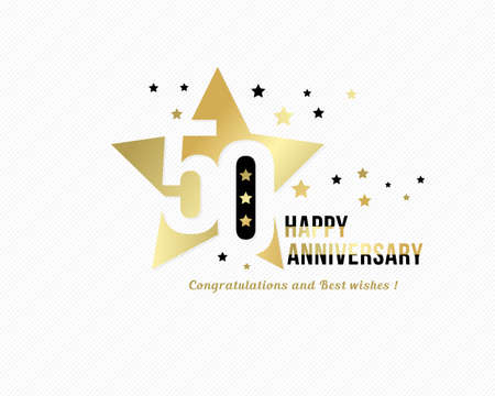 50 anniversary emblem. Golden star shape frame with gold and black starry confetti decorations