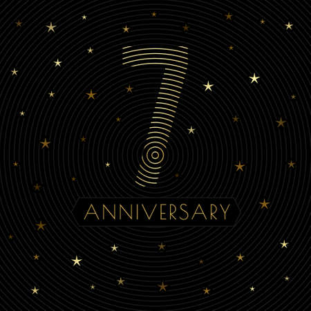 7 anniversary emblem in retro line art style with golden starry decorations on the dark background Vettoriali