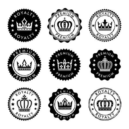 Royal stamp collection. Vector circle badges with crown design element.