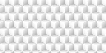 White geometric vector background with 3d texture from cubes.