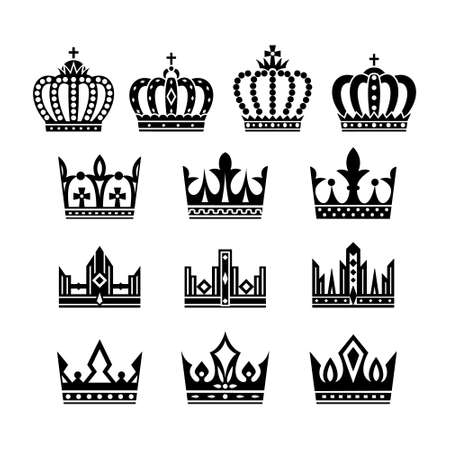 Crown icon collection. Vector isolated silhouettes.