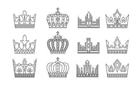 Crown icon collection. Vector symbols in outline style. Vettoriali