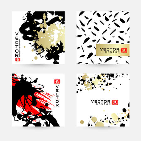 Ink splashes design in black, red and golden colors .. Modern cards with abstract elements. Vector hand painted backgrounds in japanese or chinese style. Vettoriali