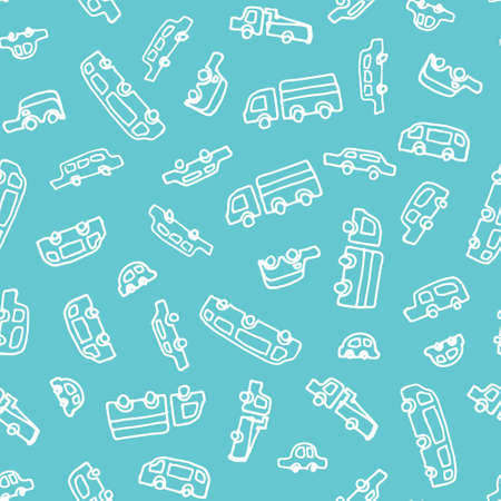 Kids pattern with cars. Vector seamless background in doodle style.