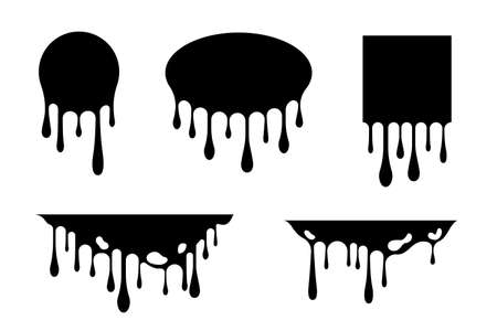 Dripping liquid design elements. Vector isolated frames and borders with ink or paint flow down.