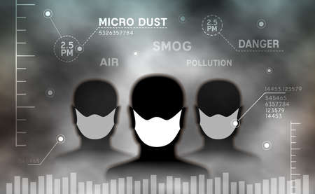 Air pollution vector illustration. Group of mans with mask among smog of micro dust particles. Vettoriali