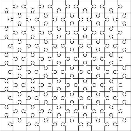 Puzzle background. Jigsaw game vector texture. Outline style