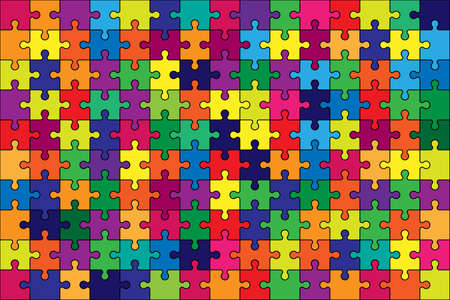 Puzzle colorful background. Jigsaw game vector rainbow texture.