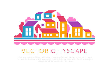 City landscape or hill town illustration in simple flat style. Vector design element with minimal geometric composition. Buildings, trees and water line.