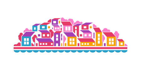 City landscape or hill town illustration in simple flat style. Vector design element. Buildings, trees and water line.