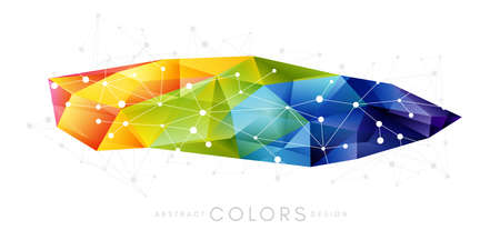 Rainbow triangle polygonal shape decoration. Colorful abstraction design elements. Vector horizontal banner.