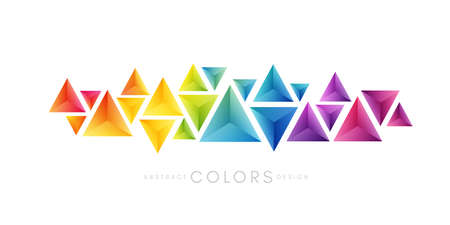 Rainbow triangles decoration. Colorful abstraction design elements. Vector horizontal banner. Vettoriali