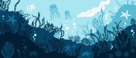 Underwater panoramic background. Corals and reef wildlife scene. Vector illustration with deep marine inhabitants.