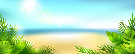 Summer tropical panoramic landscape. Vector horizontal background with sky, clouds, beach and palm leaves. Vettoriali