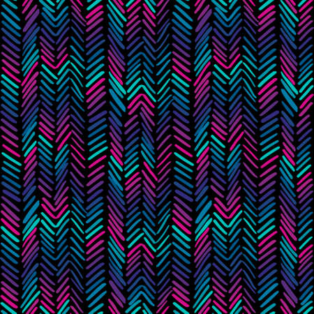 Herringbone modern pattern. Colorful hand drawn seamless background. Vector illustration with wavy stripes.
