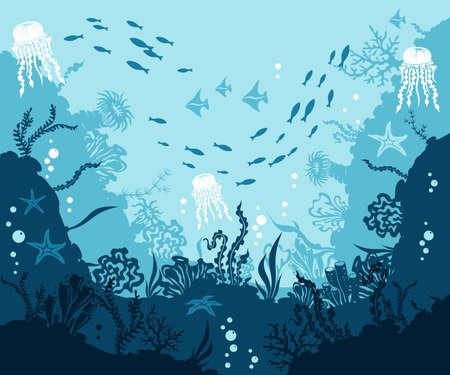 Underwater background. Corals and reef wildlife scene. Vector illustration with deep marine inhabitants.